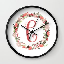 Personal monogram letter 'C' flower wreath Wall Clock