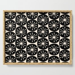 Atomic Dots Midcentury Modern Retro Pattern in Almond Cream and Black Serving Tray