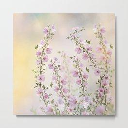 Pink hollyhock flowers in the garden Metal Print