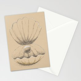 Clam with pearl Stationery Cards