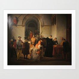 Francesco Hayez - Mary Stuart Protesting her Innocence on Hearing her Death Sentence Art Print