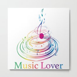 Music Theme Colorful Music Note Design Metal Print