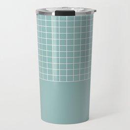 White grid on turquoise Travel Mug