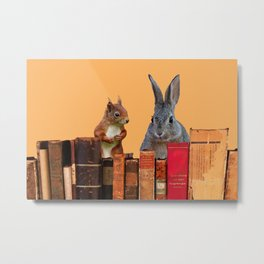 Rabbit with squirrel behind old Books #society6 Metal Print