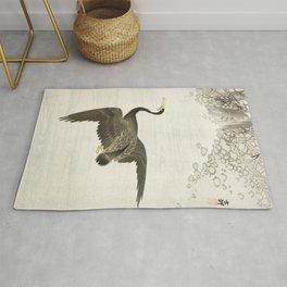 Cormorant mid flight - Vintage Japanese Woodblock Print Art Rug