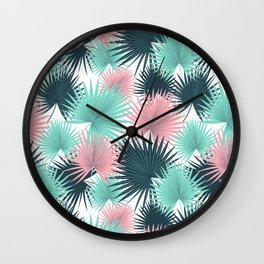 Pastel Palm Leaves Wall Clock