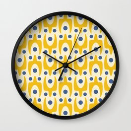 Mid Century Modern Abstract Pattern 641 Yellow and Blue Wall Clock