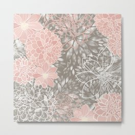 Floral Pattern Dahlias, Blush Pink, Gray, White Metal Print