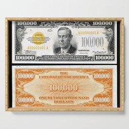 Vintage 1934 $100,000 Dollar Bill Gold Certificate Woodrow Wilson Wall Art Serving Tray