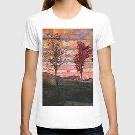 Quatre arbres (Group of Four Trees), Autumn Sunset by Egon Schiele T-shirt