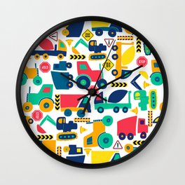 Simple Shapes Construction Vehicles Primary Colors  Wall Clock