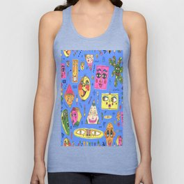 colorful geometric funny faces Unisex Tank Top