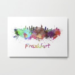 Frankfurt skyline in watercolor Metal Print