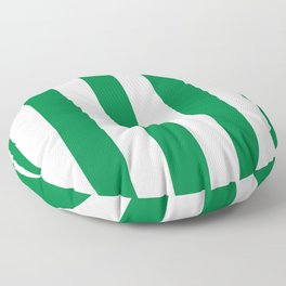 Classic Cabana Stripes in White + Kelly Green Floor Pillow