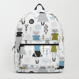 Kawaii cat girl in dress, cartoon pet black mustard blue gray flowers leaves on white background Backpack