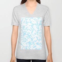 Spots - White and Light Blue Unisex V-Neck