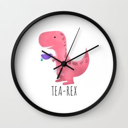 Tea-Rex | Pink Wall Clock