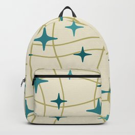 Mid Century Modern Cosmic Star Pattern 693 Cream Turquoise Olive Backpack