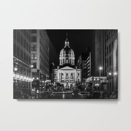 Market St & The Statehouse B&W Metal Print