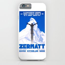 1931 Zermatt Switzerland Ski Travel Poster iPhone Case