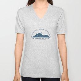 Asheville - The Mountains Are Calling - AVL 10 Greyblue Unisex V-Neck