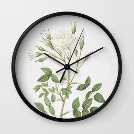 Vintage White Rose of Rosenberg Illustration Wall Clock