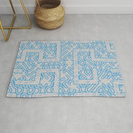 Blue Needlepoint Maze Rug