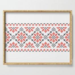 Traditional flowers cross-stitch folk art row white Serving Tray