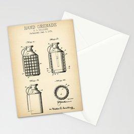 Hand grenade vintage print Stationery Cards