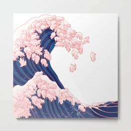 Pink Pigs Waves in White Metal Print