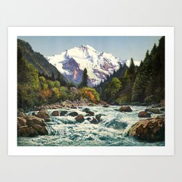 Mountains Forest Rocky River Art Print