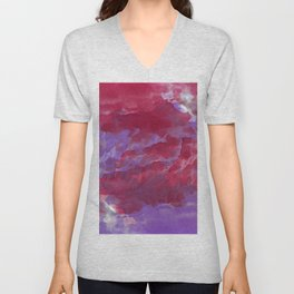Hand painted pink violet watercolor  abstract clouds brushstrokes Unisex V-Neck