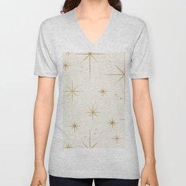 Seamless Pattern Glamorous White Gold Art Deco Stars Constellations Minimalist Geometric Pattern Unisex V-Neck