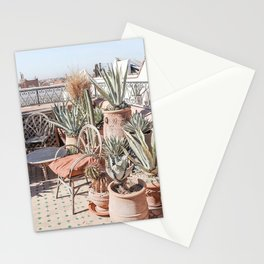Tropical Rooftop In Marrakech Photo | Cactus Plants Boho Art Print | Morocco Travel Photography Stationery Cards