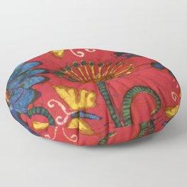 Batik butterflies and flowers on red Floor Pillow