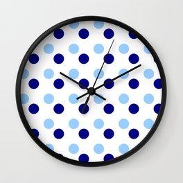 new polka dot 15- blue Wall Clock