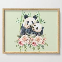 Cute Panda Bears Cuddling Watercolor Serving Tray