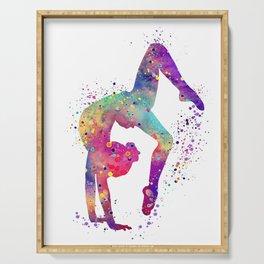 Girl Gymnastics Tumbling Watercolor Serving Tray