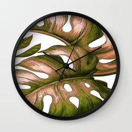 Large Tropical Leaves Wall Clock