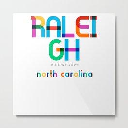 Raleigh North Carolina Mid Century, Pop Art, Metal Print