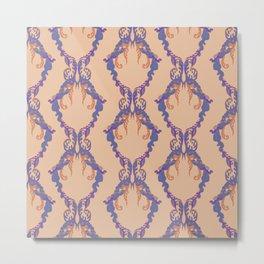 Floral rococo vintage seamless pattern, classic damask textile ornament. Blue cobalt azure tan mauve plum coral peach orange background.  Metal Print