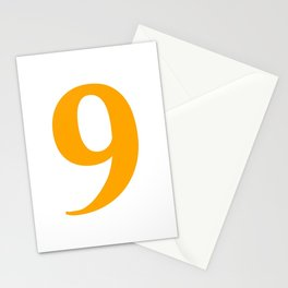 9 (ORANGE & WHITE NUMBERS) Stationery Cards