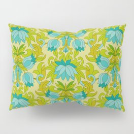 Turquoise and Green Leaves 1960s Retro Vintage Pattern Pillow Sham
