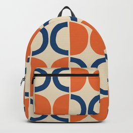 Mid Century Modern Half Circle Pattern 534 Beige Blue and Orange Backpack