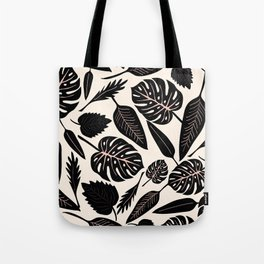 Monstera pattern in black and pastel Tote Bag