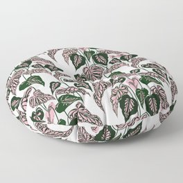 Pink and Green indoor Plant Caladium - home decor Floor Pillow
