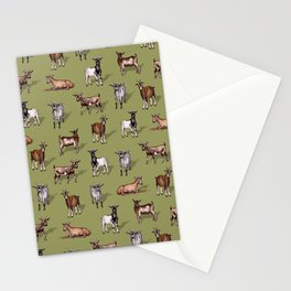 Tiny Goats on Green - Goat Herd Pattern Stationery Cards