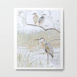 Heron on the nature reserve Metal Print