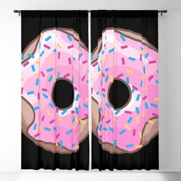Pink Donut on Black Blackout Curtain
