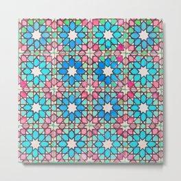 Moroccan Tiles watercolorin Metal Print